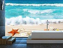 Fototapete 3D Meer Strand Muscheln Und Seesterne