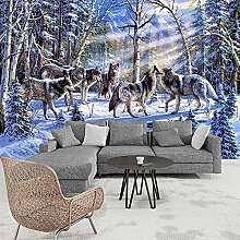 Fototapete 3D Modern Snow Wolf Ölgemälde Wand