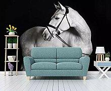 Fototapete 3D moderne Schwarz-Weiß-Pferd