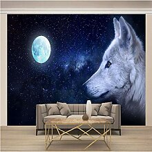 Fototapete 3D Mondtierwolf 250x175cm Vlies