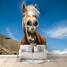 Fototapete 3D Pferd Mit Blauem Himmel 3D