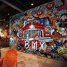 Fototapete 3D Retro Cartoon Auto Graffiti Wand