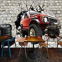 Fototapete 3D Retro Ziegelmauer Reifen Auto Wand