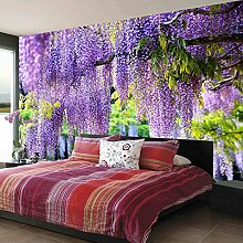 Fototapete 3D romantische lila Blumenrebe Wand