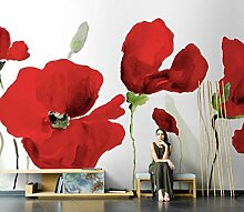 Fototapete 3D Rote Mohnblume Benutzerdefinierte 3D