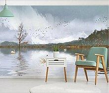Fototapete 3D Seeufer Landschaft Tiere Tapete