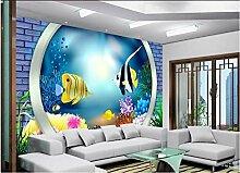 Fototapete 3D Small Fish Mauer Tapeten Retro