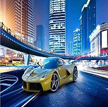 Fototapete 3D Stadt Nachtszene, Auto Moderne Vlies