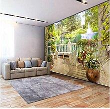 Fototapete 3D Stereo Balkon Garten Landschaft