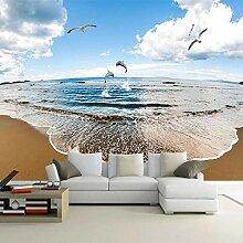 Fototapete 3D-Strand mit blauem Himmel und