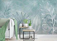 Fototapete 3D Tapete Aquarell Tropische Blätter