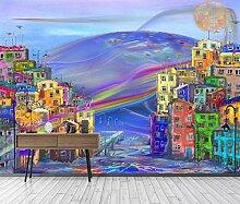 Fototapete 3D Tapete Aquarellstadtölgemälde