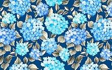 Fototapete 3D Tapete Blaue Blütenpflanzenblätter