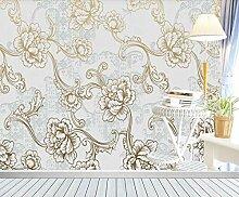 Fototapete 3D Tapete Blumenmuster Mit Goldenem