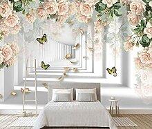 Fototapete 3D Tapete Blumenraumschmetterling