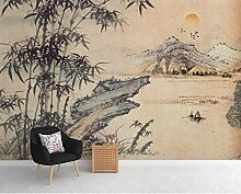 Fototapete 3D Tapete Chinesische Tusche, Bambus,