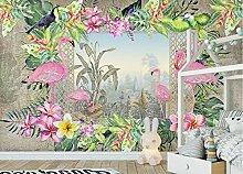 Fototapete 3D Tapete Flamingo-Pflanze Tapeten