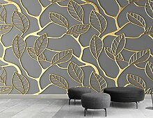 Fototapete 3D Tapete Geprägte Goldene Blätter