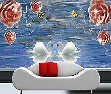 Fototapete 3D Tapete Geprägter Blumenliebesschwan