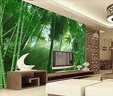 Fototapete 3D Tapete Grünes Bambuswaldsonnenlicht