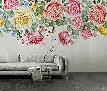 Fototapete 3D Tapete Handbemalte Rose Nordischen
