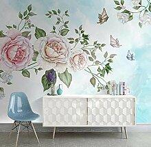 Fototapete 3D Tapete Handgemalte Blumen Rosen
