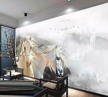 Fototapete 3D Tapete Ink Weißes Pferd Landschaft