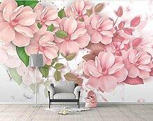 Fototapete 3D Tapete Marmorierte Rosa Blume Frisch