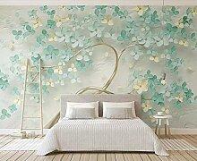 Fototapete 3D Tapete Mintgrünes Blumenrelief