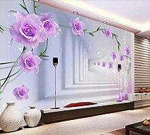 Fototapete 3D Tapete Rosen-Hintergrundwand 3D