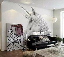 Fototapete 3D Tapete Schwarze Und Weiße Pferd