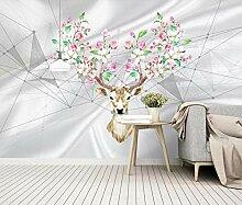 Fototapete 3D Tapete Seidenblumengeometrie Mit