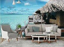 Fototapete 3D Tapete Strohhaus Malediven Mit