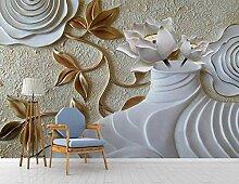 Fototapete 3D Tapete Vase, Lotus, Rosenrelief 3D