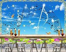 Fototapete 3D Tapete Wandbild Musikalische Blumen-