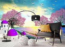Fototapete 3D Tapete Wandbild Plateau Lavendel