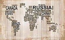 Fototapete 3D Tapete Wandbild Weltkarte Mit