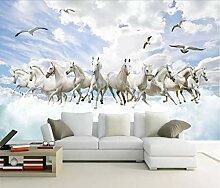 Fototapete 3D Tapete Weiße Pferd Mode Himmel