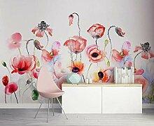 Fototapete 3D Tapeten Handgemalte Rosa Blumen