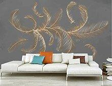 Fototapete 3D Tapeten Mode Feder Goldene Linien