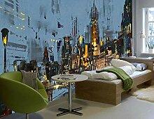 Fototapete 3D Tapeten Wandbilder Abstrakte Stadt