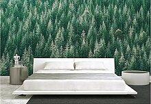 Fototapete 3D Tapeten Wandbilder Grüne Waldbäume