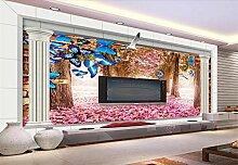Fototapete 3D Tapeten Wandbilder Kirschblütenbaum