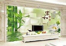 Fototapete 3D Tapeten Wandbilder Lotusblume Bambus