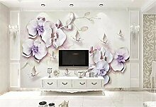 Fototapete 3D Tapeten Wandbilder Orchidee Aquarell