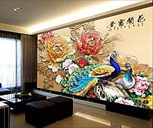 Fototapete 3D Tapeten Wandbilder Pfau Pfingstrose
