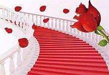 Fototapete 3D Tapeten Wandbilder Rose Treppe