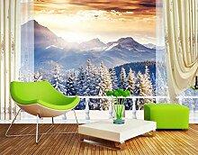 Fototapete 3D Tapeten Wandbilder Schnee