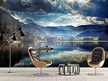 Fototapete 3D Tapeten Wandbilder Seewasser Berge
