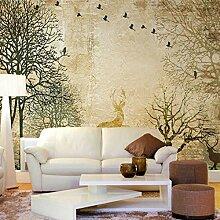 Fototapete 3D Tierbäume Mauer Tapeten Retro
